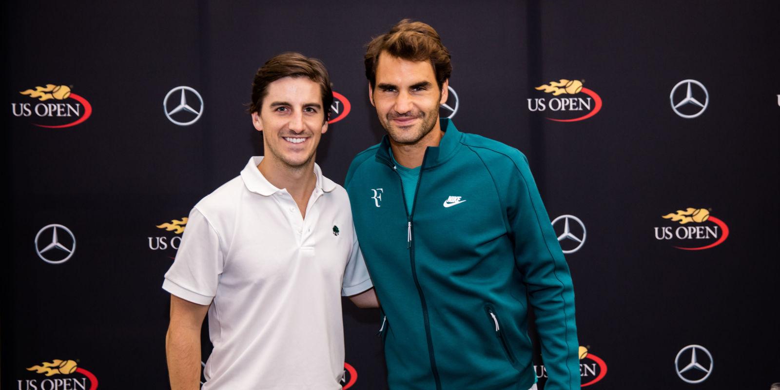 Roger federer mercedes benz tennis clinic roger federer for Mercedes benz us open