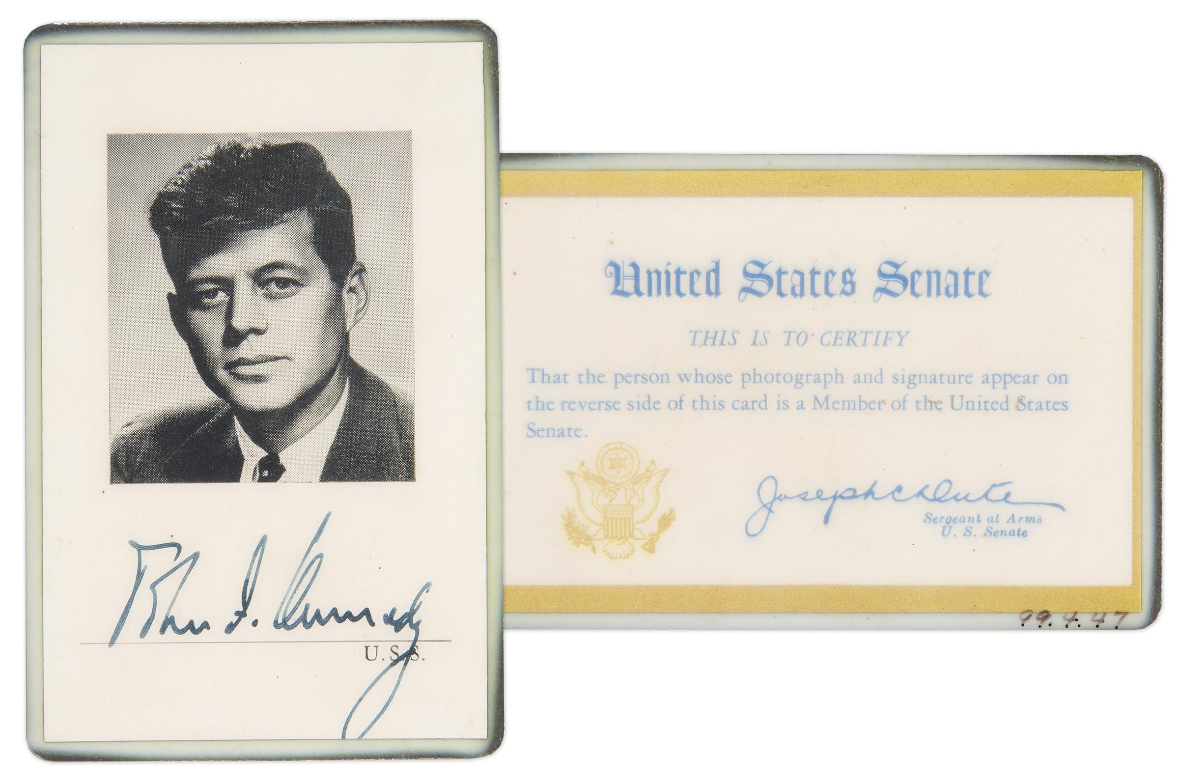 JFK Auction JFK Memorabilia. Full resolution  image, nominally Width 2400 Height 1592 pixels, image with #616D5E.